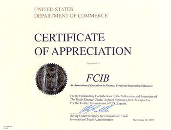 Certificate of Appreciation awarded to Finance Credit International Business Association for The Trade Finance Guide